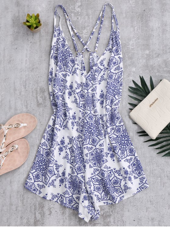 best Back Crossed Printed Romper - BLUE AND WHITE L