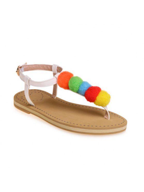Faux Leather Pompon Sandals - Branco 39