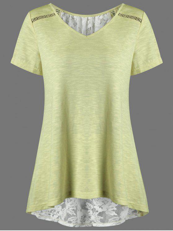 fancy V Neck Floral High Low Hem Lace Back T-Shirt - YELLOW M