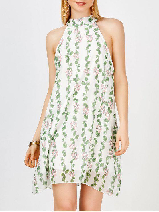 Chiffon Stehkragen Mini Blumen Freizeit Kleid - Grün L