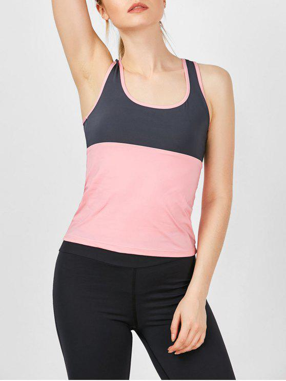 hot Two Tone U Neck Running Athletic Vest - PINK XL