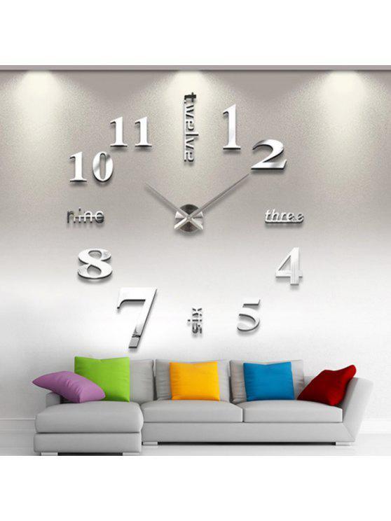 ديكور المنزل دي التناظرية عدد ساعة الحائط - فضة
