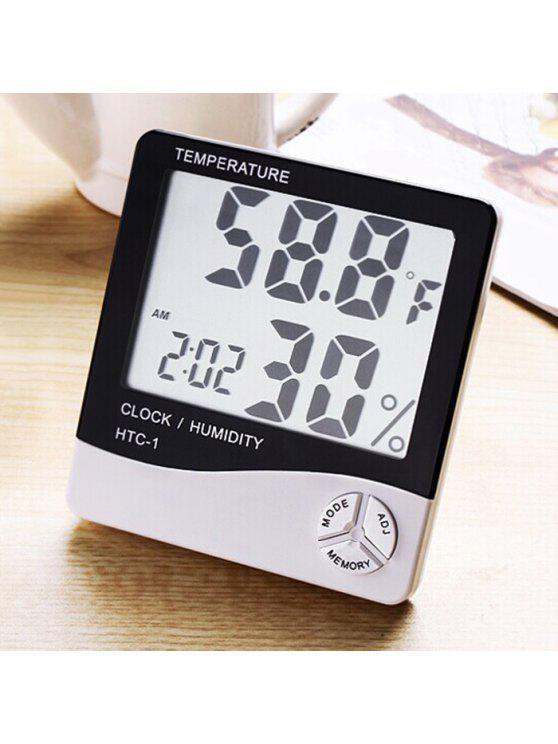 التقويم درجة الحرارة الرطوبة إنذار ساعة رقمية - أسود