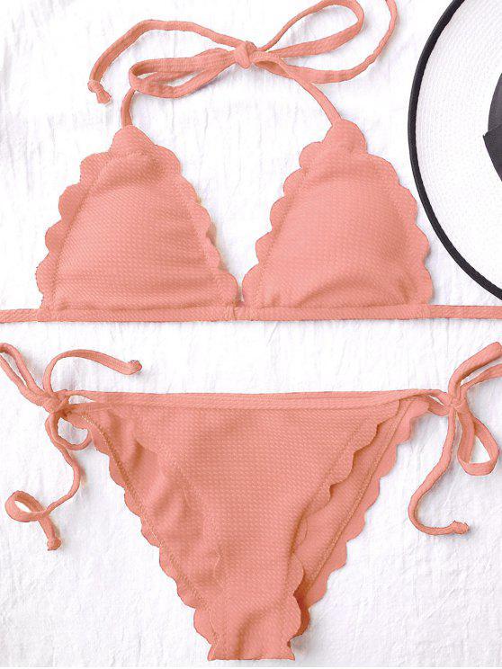 Bañador Festoneado de Bikini con Nudo Lateral de Cordón - Naranja Rosa L