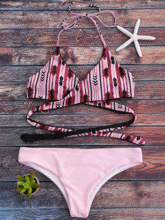 Halter Geometric Pattern Wrap Bathing Suit - Pink M