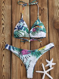 Tropical Palm Print Thong Bikini Set - White M