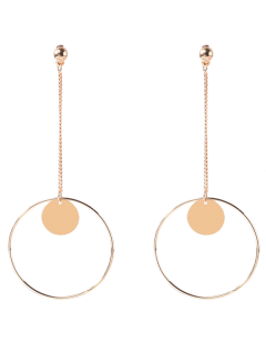 Circle Chain Disc Drop Earrings - Golden