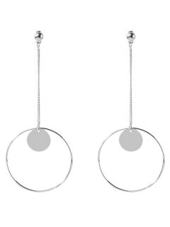 Circle Chain Disc Drop Earrings - Silver