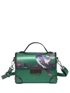 Metal Detail Bird Print Handbag - Green
