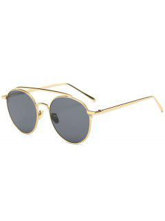Metal Long Crossbar Mirror Sunglasses - Gold Frame + Black Lens