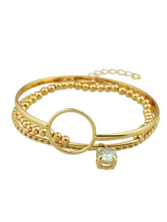 Alloy Rhinestone Circle Beaded Bracelet Set - Golden