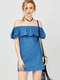 Mini Ruffles Off The Shoulder Dress - Blue S
