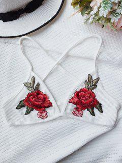 Flower Applique Bralette Top - White