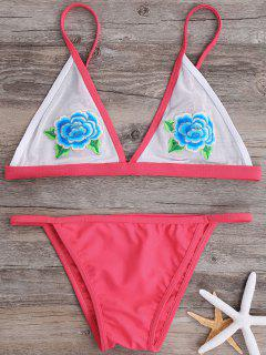 Floral Applique Mesh Bralette Bikini Set - Rose S