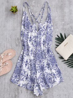 Back Crossed Printed Romper - Blue And White L