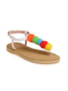 Faux Leather Pompon Sandals - White 39