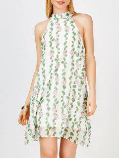 Chiffon High Neck Mini Floral Casual Dress - Green L