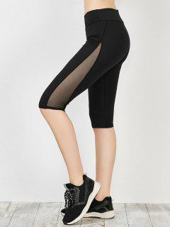 Capri Mesh Panel Running Leggings - Black Xl