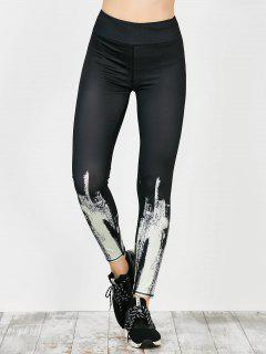 Tie Dye Sport Running Leggings - White M