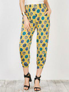 Pockets Printed Trapeze Pants - Floral