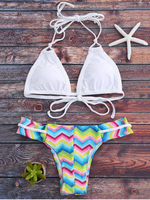 Halfter Bunte Zickzack-Bikini-Satz - Weiß L Mobile