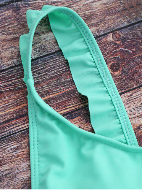 women Cross Back Ruffles Thong Swimwear - GREEN XL Mobile