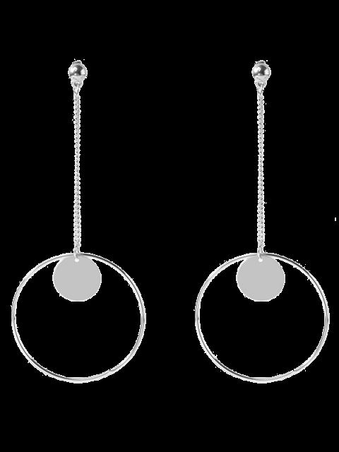 Cercle chaîne disque Boucles d'oreilles - Argent  Mobile