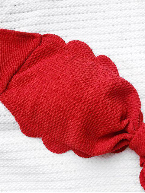 lady Scalloped Hem Bandeau Bikini Set - RED L Mobile