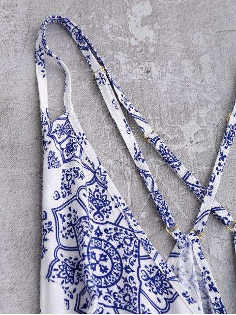 Back Crossed Printed Romper - Bleu et Blanc S Mobile