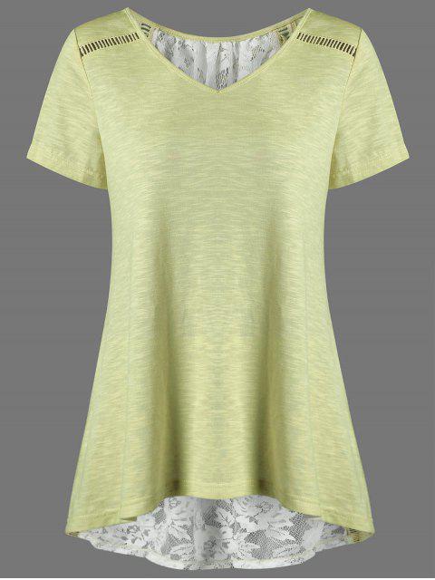 fancy V Neck Floral High Low Hem Lace Back T-Shirt - YELLOW M Mobile