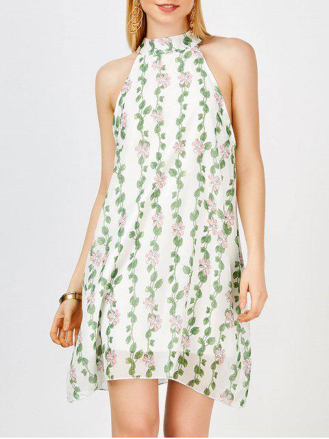 Chiffon Stehkragen Mini Blumen Freizeit Kleid - Grün L Mobile