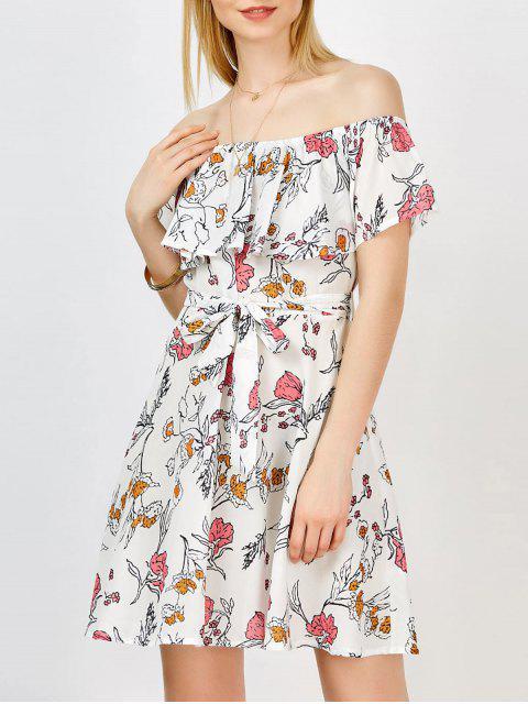 Weg von der Schulter Blumen einer Linie Kleid - Weiß XL  Mobile