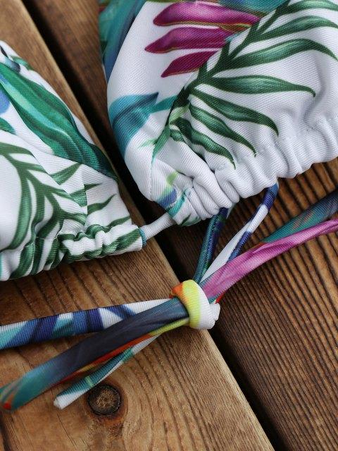 shops Tropical Palm Print Thong Bikini Set - WHITE L Mobile