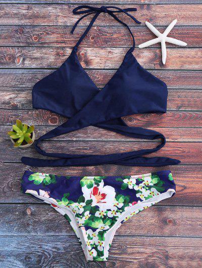 Halter Floral Wrap Bathing Suit - Royal S