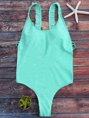 Cross Back Ruffles Thong Swimwear - Green L