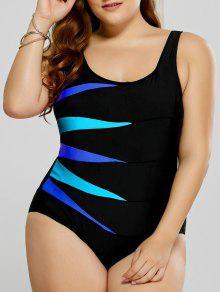 ملابس السباحة الحجم الكبير ملائم طباعة بقطعة واحدة - أزرق 3xl