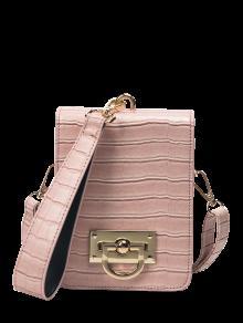 Metal Detail Mini Crossbody Wristlet Bag - Pink
