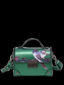 حقيبة يد مزينة بتفاصيل معدنية وبطبعة طائر - أخضر