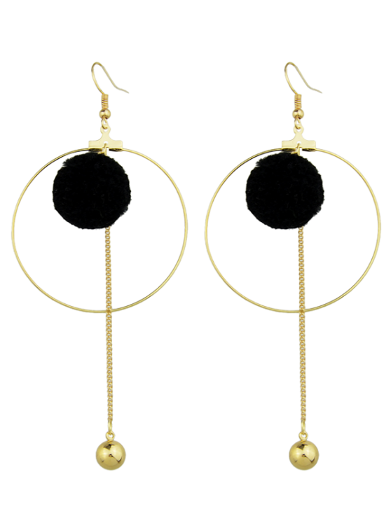 fancy Circle Bead Ball Drop Earrings - BLACK