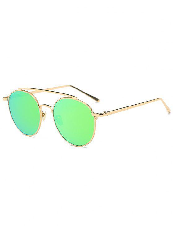 Lunettes Solaires Anti-UV avec Barre Transversale en Métal à Effet Miroir - Or Cadre  + Objectifs Vert