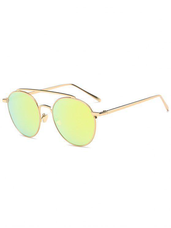 Anti-UV-Linsen Metall Querlatte Sonnenbrillen - Golder Rahmen + Golde Linse