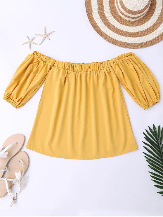 shop Balloon Sleeve Off The Shoulder Top - YELLOW M