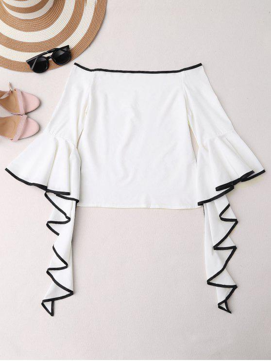 fashion Contrast Piping Off The Shoulder Top - WHITE M