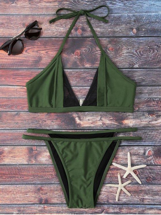 fashion Mesh Panel Thong Bikini Set - GREEN S