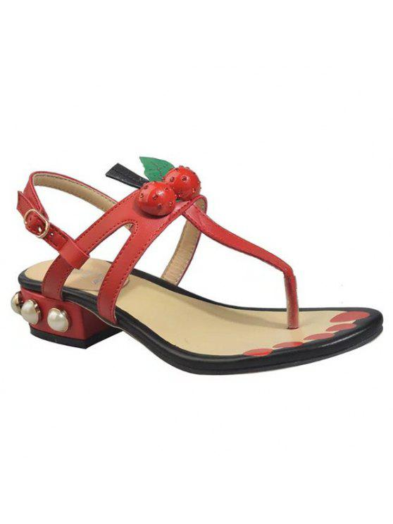 fashion Faux Leather Color Block Sandals - RED 37