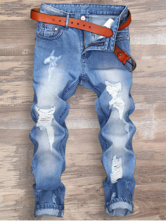 Pantalones Vaqueros con Cremallera Rasgado - Azul Claro 34