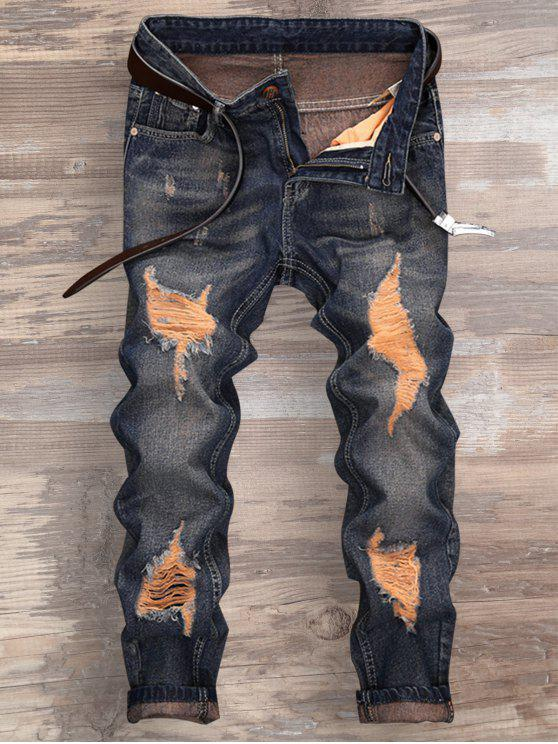Ripped Design Neun Minuten Jeans gefesselt - Denim Blau 38