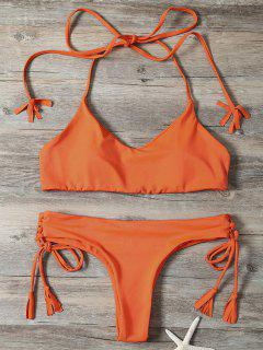 Tassels Lace-Up Bikini Set - Orangepink L