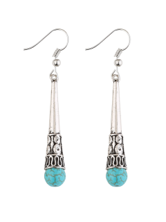 Faux Turquoise Bead Boho Drop Earrings - Silver