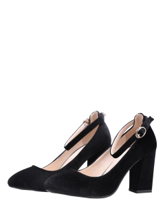 Velvet Ankle Strap Block Heel Pumps - Black 39
